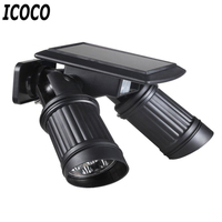 ICOCO Solar LED Induction Dual Head Bulb Lamp Spotlight Smart Infrared IR Induction Light Control Garden