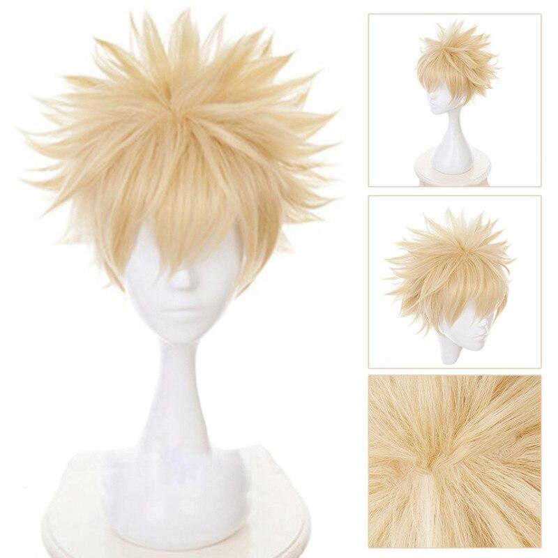 Top Cheap Anime My Hero Academia Baku No Hero Bakugou Katsuki Bakugo Hair Short Linen Blonde Heat Resistant Cosplay Costume Wig