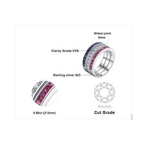 Image 5 - Créé rubis saphir anneaux de mariage ensemble 925 bagues en argent Sterling pour les femmes anniversaire éternité empilable bande anneau ensemble bijoux