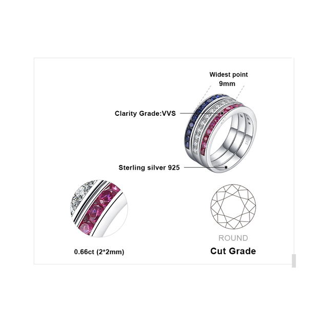 JewelryPalace Three Stack 1.8ct Round Created Ruby Sapphire Cubic Zirconia Band Eternity Ring Set 925 Sterling Silver For Women