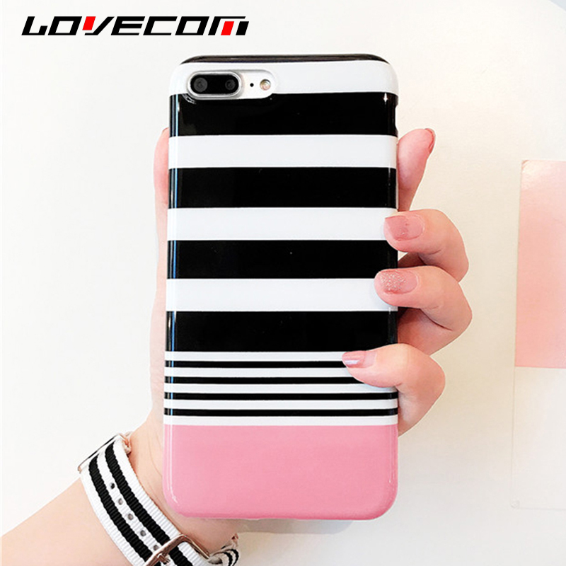LOVECOM Fashion White & Black Stripe Case For iPhone 7 Plus 6 6S Plus Glossy Soft IMD Protective Phone Cases Back Cover Coque