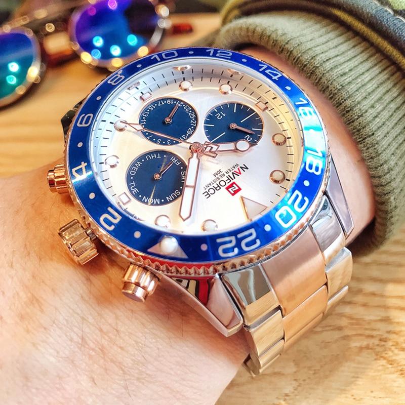NAVIFORCE Top Brand Men's Stainless Steel Sport Watches Waterproof Analog Quartz Wrist Watch Luxury Clock Male Relogio Masculino