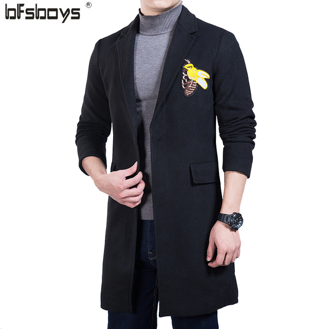 2016 new Fashion Cultivate one's morality long leisure embroidery single-breasted Turn-down collar brand cloth coat  Y804
