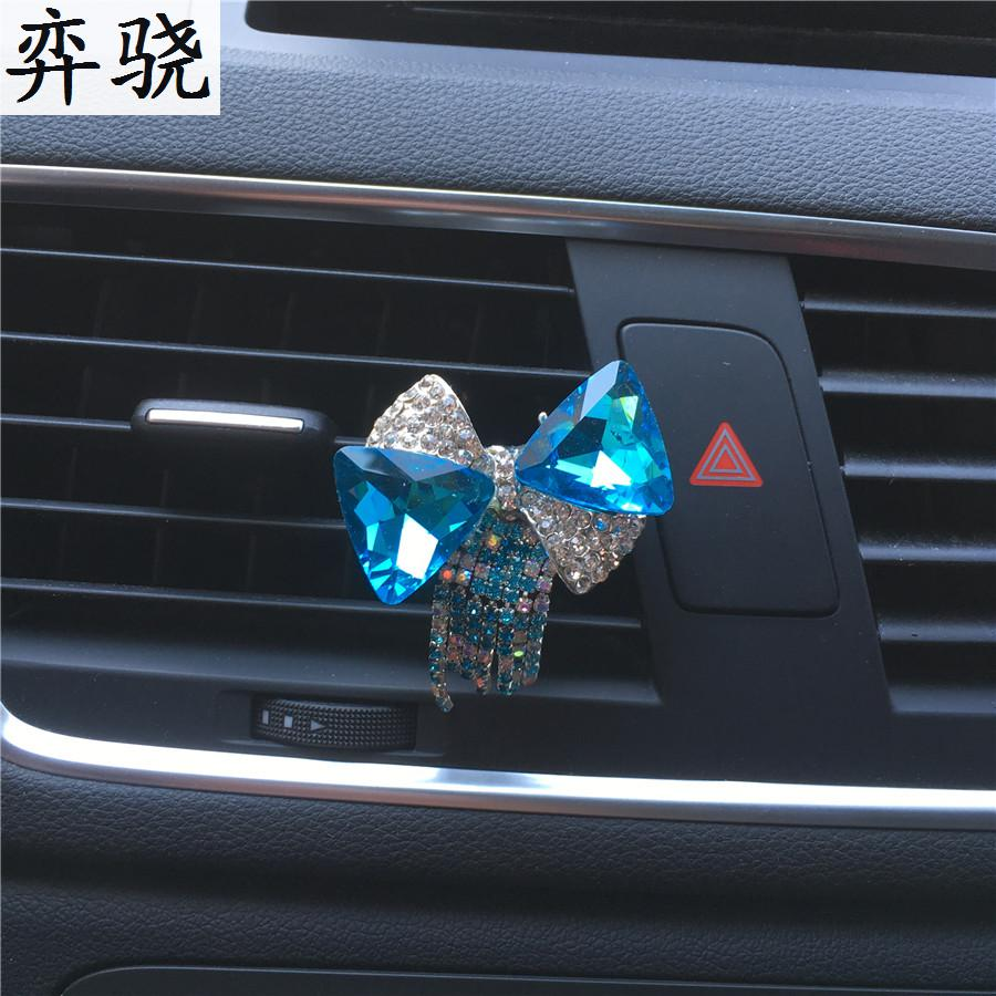 bowknot Colorful bow tie ornaments Lady perfume car styling Air conditioner perfume clip pendant car perfume Air Freshener