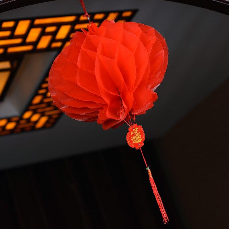 HAOCHU 10 Unids 8 pulgadas (20 cm) Linterna De Papel Chino Tradicional Rojo Año