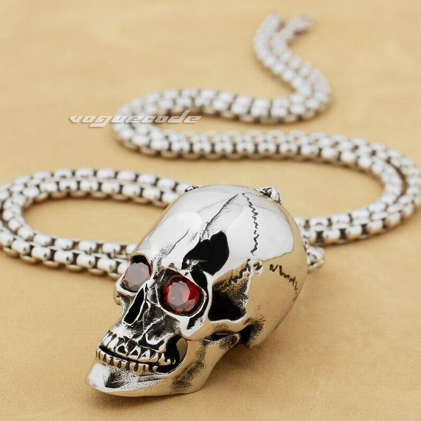 Heavy 316L Stainless Steel Red CZ Eyes Openable Skull Mens Pendant 3H001 Stainless Steel Necklace 26 no 7 stylish 316l stainless steel hand skeleton pendant necklace black silver