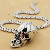Heavy 316L Stainless Steel Red CZ Eyes Openable Skull Mens Pendant 3H001 Stainless Steel Necklace 26