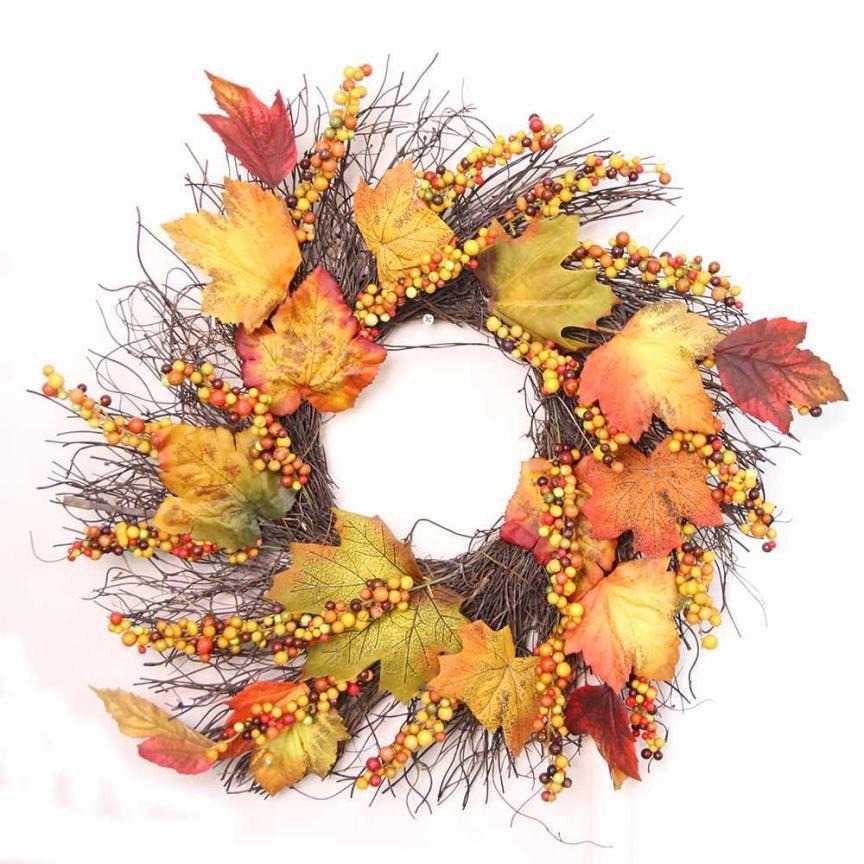 Новый квалифицированные 50 см Berry кленовый лист осень дверь венок двери настенное украшение для Дня благодарения D1017