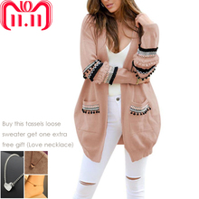 Female Patchwork Long Cardigan Tassels Loose Sweater Coat Women Autumn Long Sleeve Warm Outwear Winter Knitting Coat (China)