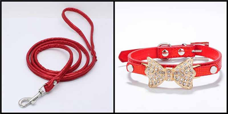 SYDZSW PU Leather Dog Collars & Leads Puppy Pet Leash Luxury Pet Products Diamond Bow Tie Chihuahua Collar Necklace for Cats Dogs24