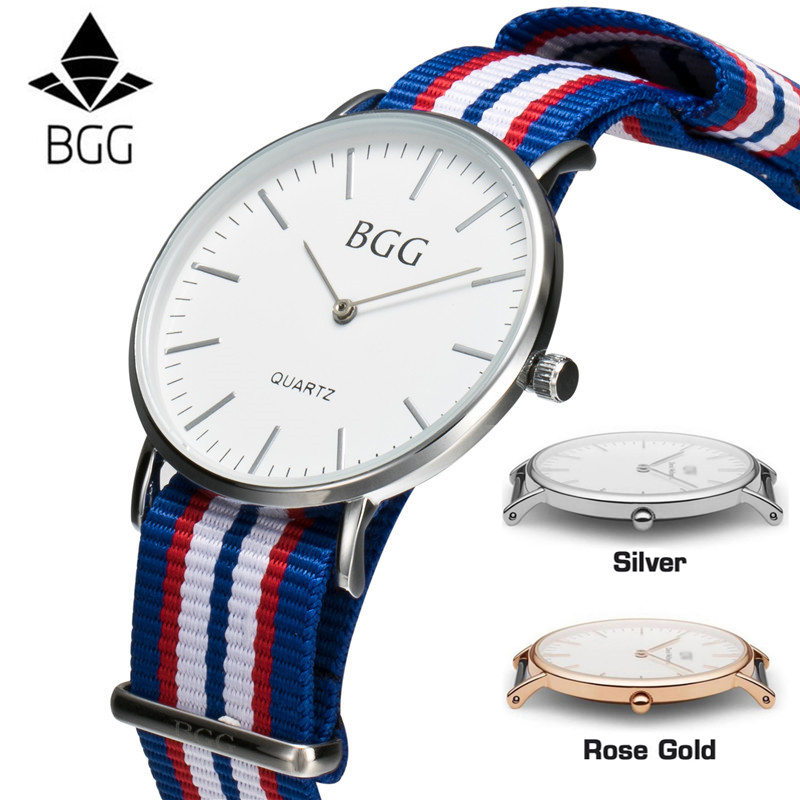 Classic Nylon Stripes Band Women Watch 2018 BGG Brand Simple Super Thin Design Lovers Watch Men Fashion Quartz Wristwatch clock