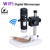 Wifi Digital Microscope WI FI 300X LED Magnifier Black Magnifying Glass Glasses Desk Loupe Lamp With Platform