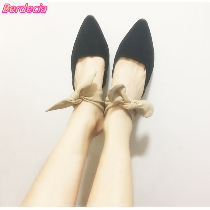 Berdecia Spring Women Pumps with Butterfly-knot Lace-up Pointed Toe Ladies Mules Spike Heels Casual Shoes Female sapato feminino mavirs high heels hot sale spring brand women pointed toe shoes flock ladies pumps glitter suqare heels sapato feminino plus 653