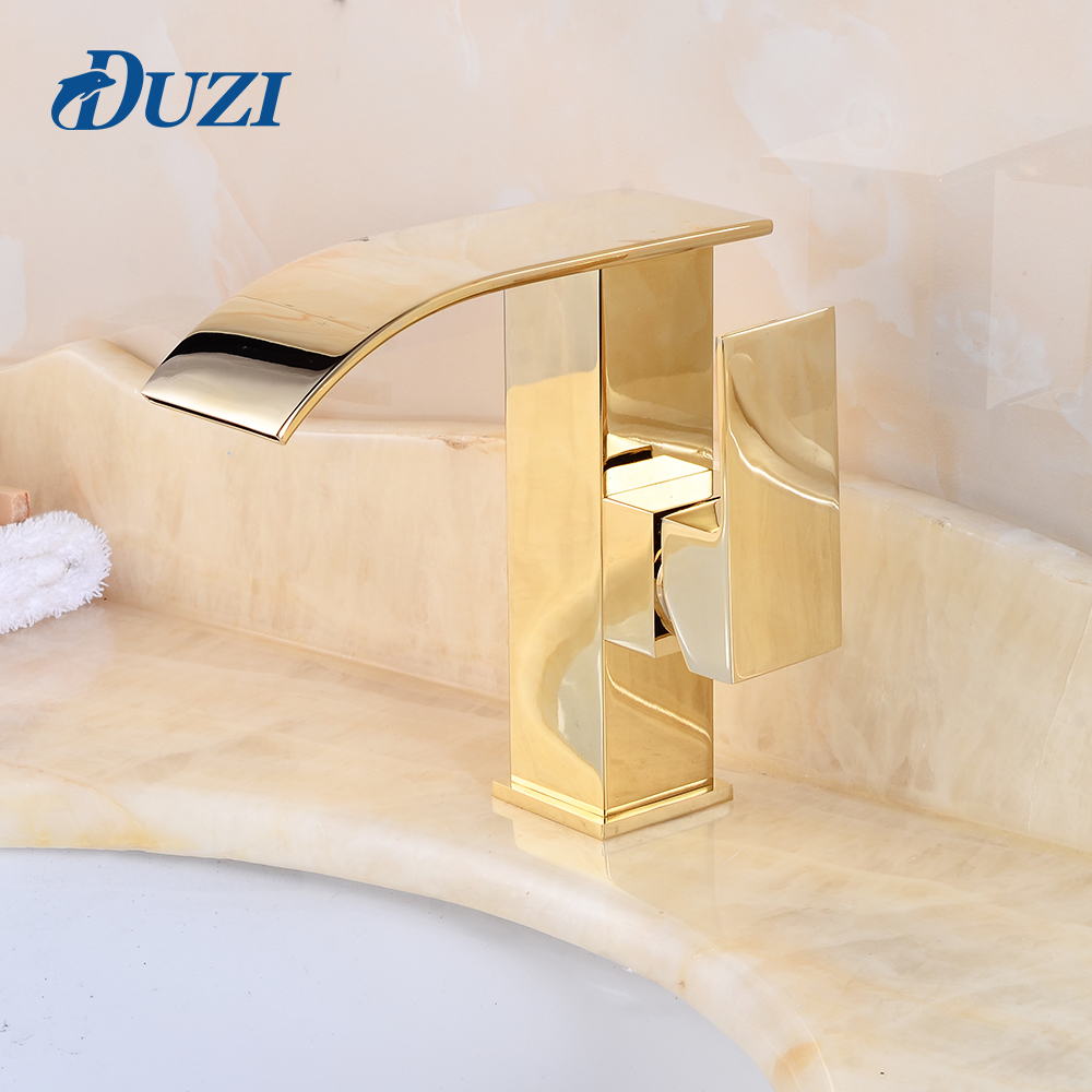 DUZI Square Waterfall Water Mixer Tap Golden Finish Deck Mounted Bathroom Sink Faucet Brass Made Cold And Hot Water Basin Faucet solid brass bathroom sink faucet single handle waterfall spout basin mixer tap hot and cold water faucet deck mounted