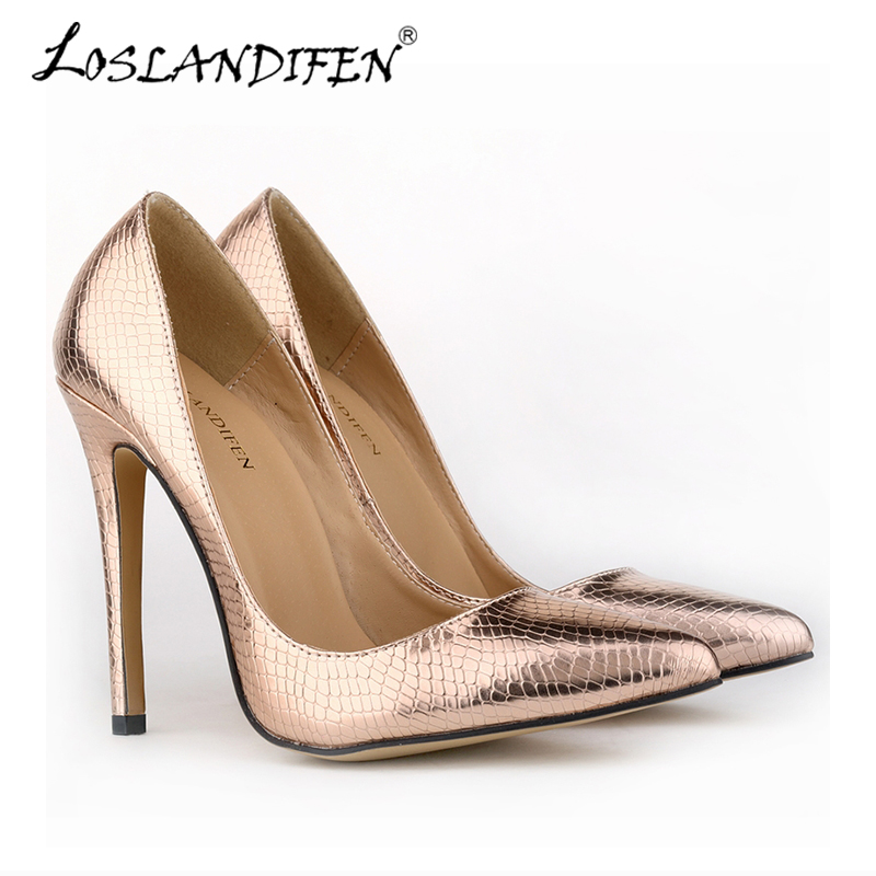 Fashion Crocodile High Heels Women Pumps PU Leather Shoes Pointed Toe Spring Antumn Wedding Party women Shoes Work Pump 302-1xey