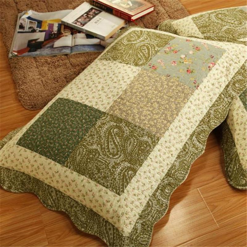 Green Bedspread Bettdecke Patchwork/Grids Colchas Coverlet Comforter ...