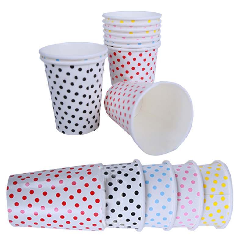 Paper <font><b>Cups</b></font> 10pcs/Lot Polka Dots Degradable Disposable of Wedding Kids Birthday <font><b>Party</b></font> Decoration Blue Red Pink <font><b>Yellow</b></font>