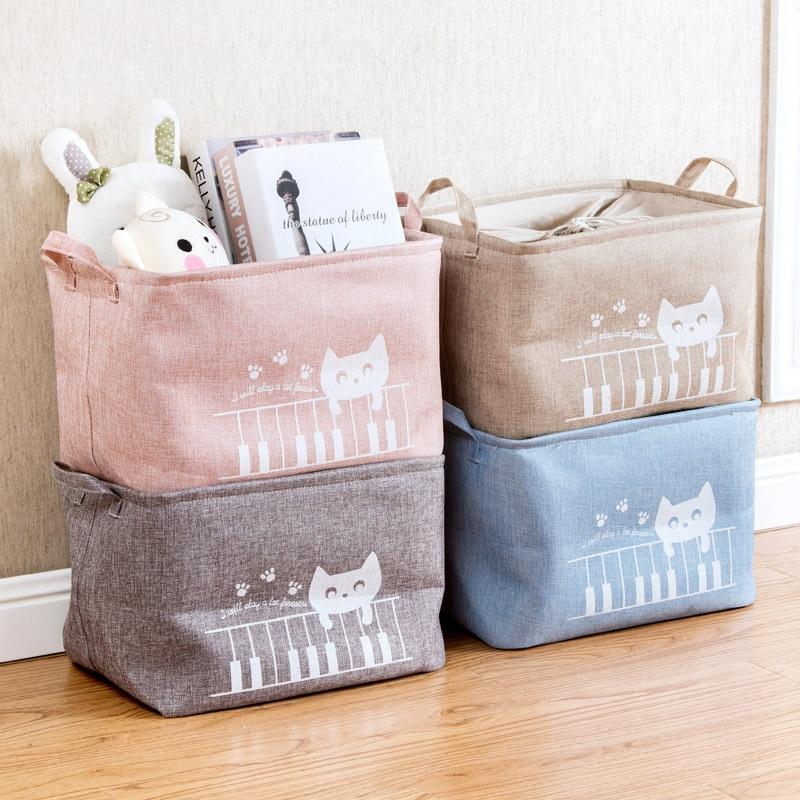2017 new linen storage basket clothes toy storage box cloth storage box storage basket containing blue sundry snacks
