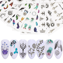 LEMOOC 45Pcs/Set Nail Stickers Colorful Water Decals Transfer Flowers Butterfly Mixed Decoration