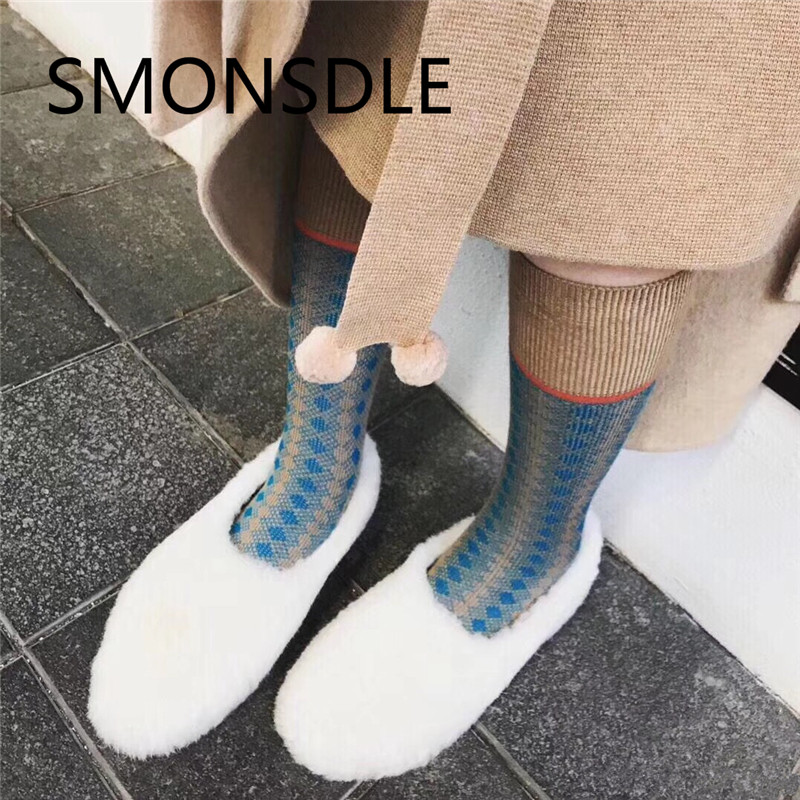 SMONSDLE 2018 New Fashion Real Fur Black White Pink Flats Women Autumn Winter Round Toe Casual Shoes Slip On Flat Shoes Woman genshuo women flats shoes casual round toe loafers fisherman espadrilles lazy hemp rope weave shoes woman black pink black pink