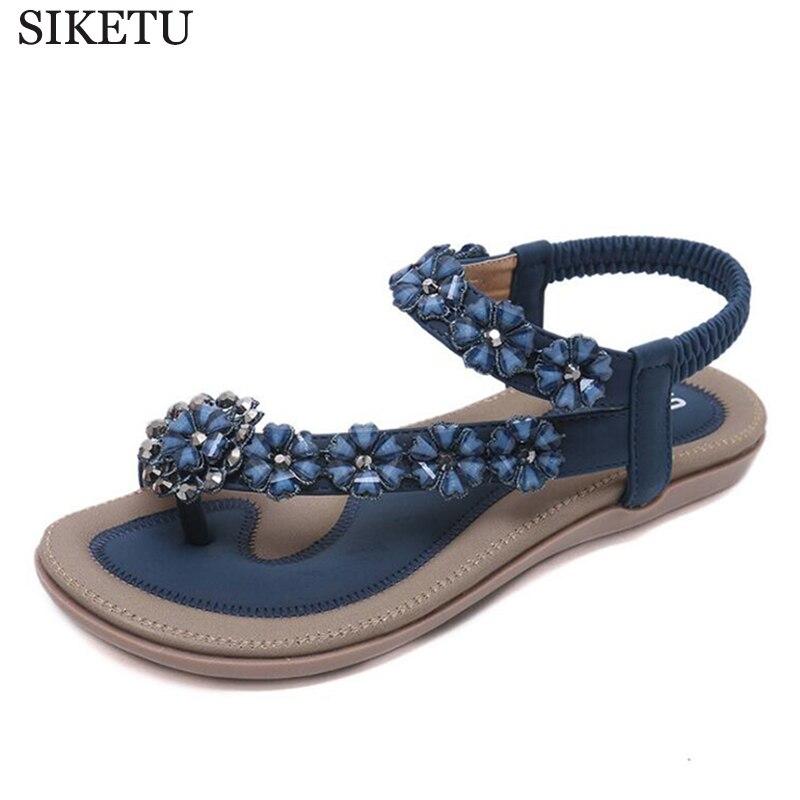 24b6372c5 fashion ladies summer Beach shoes bohemian beaded women flat sandals clip  toe brand quality sexy sandals Flowers flip flops c85