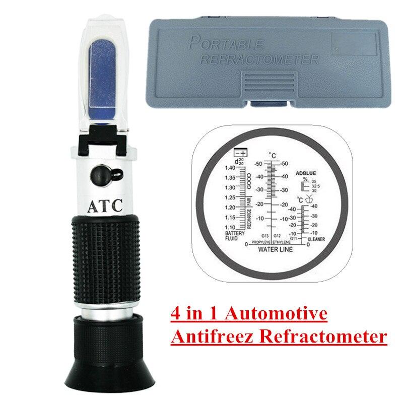 Caja de venta al por menor óptico 4-en-1 congelación concentración refractómetro de urea con ATC para los fabricantes de coches, gran flota 45%
