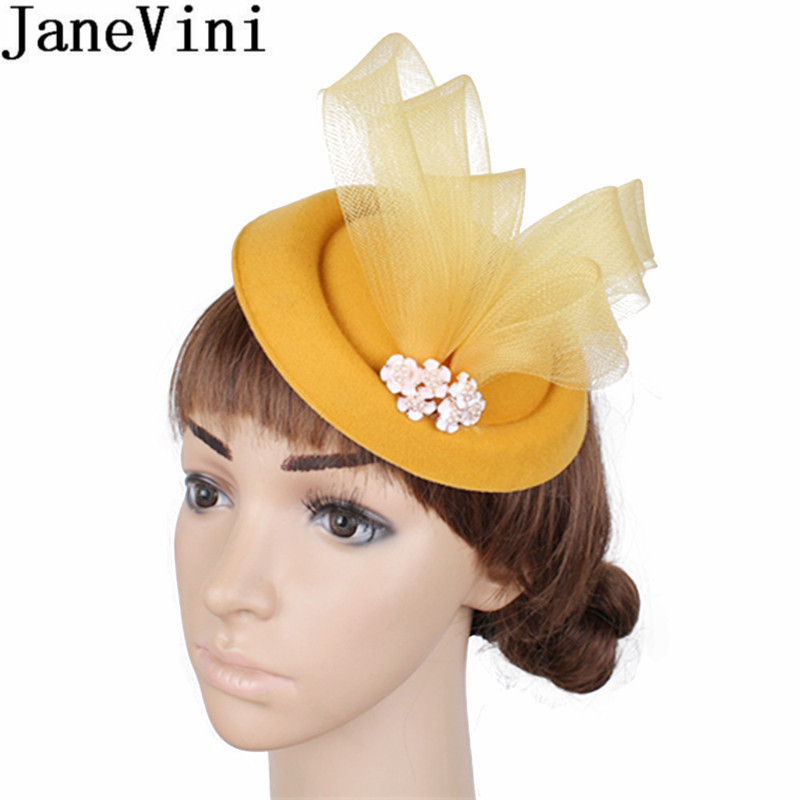 JaneVini Western Style Yellow Wedding Hats For Women Elegant Fascinators Navy Beaded Tulle Hair Accesories Brides Ceremony Hat