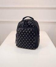Винтажные повседневные заклепки кожа Средний Рюкзак 2016 горячая распродажа! женщины сцепления известные бренды сумки школьника-рюкзак BP055