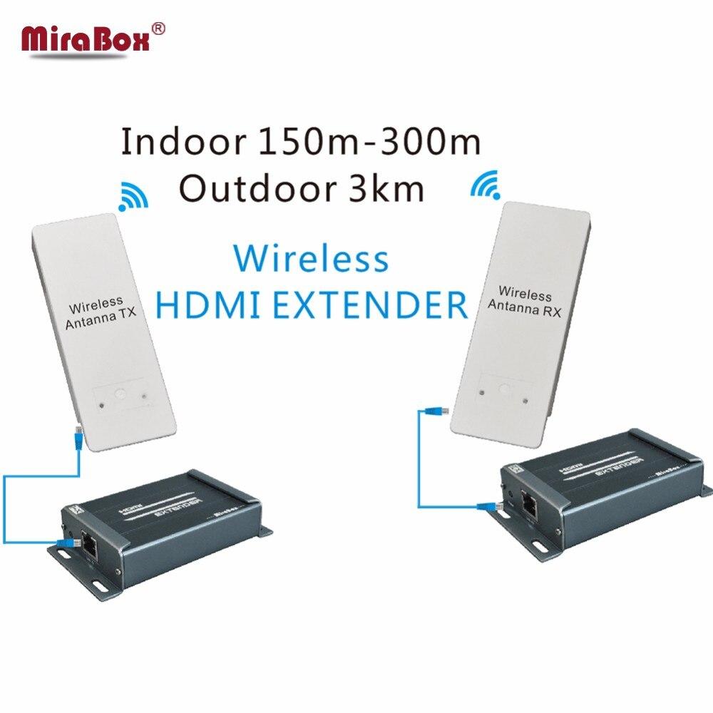 MiraBox 3KM WIFI HDMI Wireless Video Trasmettitore Ricevitore Audio Extractor 1080P 5.8GHz Wireless HDMI Extender Coperta 150m ~ 300m-in Cavi HDMI da Elettronica di consumo su  Gruppo 1