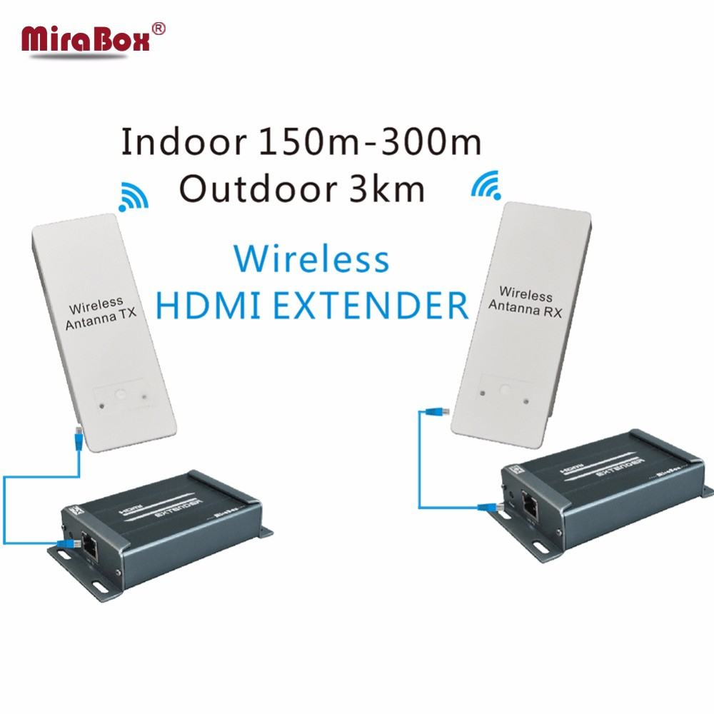 MiraBox 3KM Wireless WIFI HDMI Video Transmitter Receiver Audio Extractor 1080P 5.8GHz Wireless HDMI Extender Indoor 150m ~ 300m