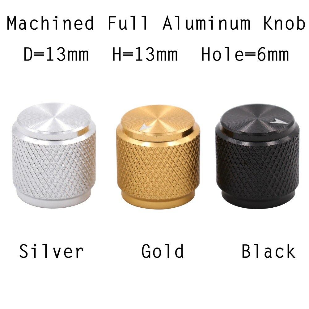 1 Pc 13x13mm Mini Solide Voll Aluminium Knob Knopf Für Gitarre Amp Wirkung Pedal Schrank 6mm Welle Loch Silber Schwarz Gold