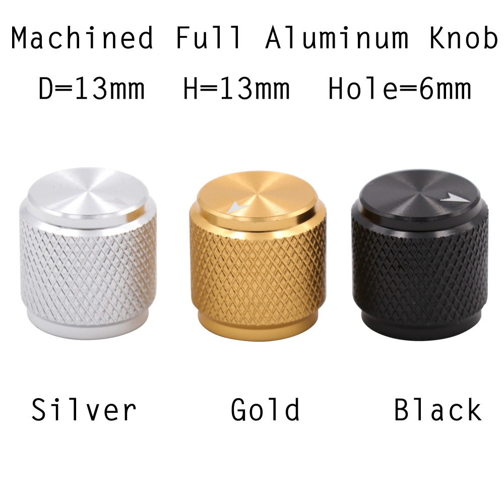 1PC 13x13mm Mini Solid Full Aluminum Knob Button For Guitar AMP Effect Pedal Cabinet 6mm Shaft Hole Silver Black Gold