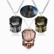 Movie AVP Alien Predator Mask Pendant Necklace Boys Men Cool Charms Pendants Necklace Link Chain Stainless Metal Necklace Colar