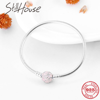 Romantic Pink Rose Love Real 925 Sterling Silver Snake Bone Chain Bracelets Fashion Women Jewelry Valentine's Day gift