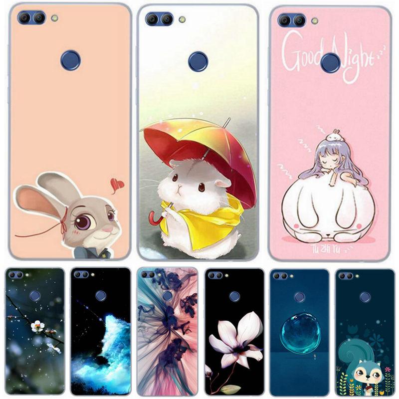 Soft TPU For Huawei Y9 2018 Phone Case Cute Printed Silicone Back Cover For Huawei Y9 2018 Enjoy 8 plus Funda Rose Flower ku306