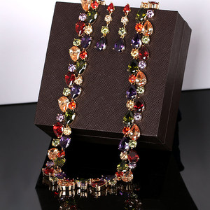 Image 3 - Beautiful Colorful Cubic Zirconia Crystal Mona Lisa Style Necklace and Earrings Jewelry Set in Gold Color Plated