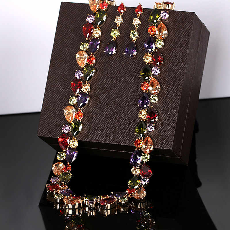 Schöne Bunte Zirkonia Kristall Mona Lisa Stil Halskette und Ohrringe Schmuck-Set in Gold Farbe Überzogen