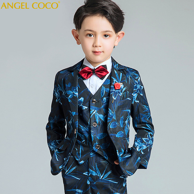 Boys Suit Male Flower Girl Dress Boy Piano Costumes Print Blue Suits Big Children'S Clothing Boys Suits For Weddings Menino 2018 kimocat boy and girl high quality spring autumn children s cowboy suit version of the big boy cherry embroidery jeans two suits