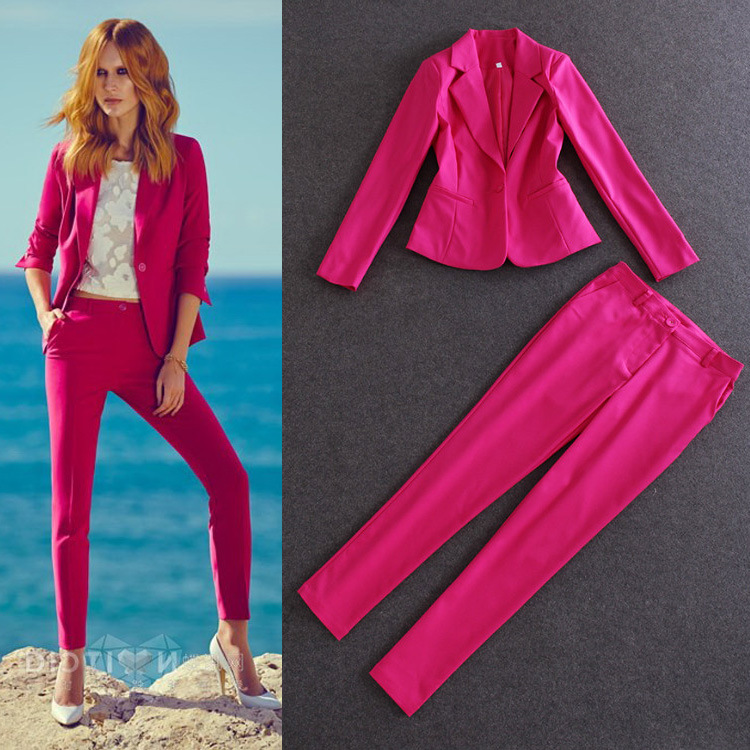 Elegant Trouser Suits For Ladies 2015 NEW Autumn Fashion Pink ...