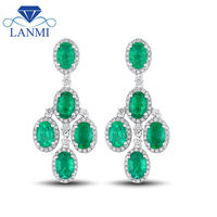 Fantastic Gorgeous Oval 4x6mm Emerald Earrings In Solid 14Kt White Gold Diamond Gemstone Luxury Wedding Jewelry E0152A