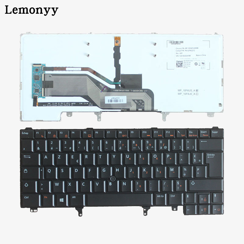 New French Keyboard For Dell Latitude E5420 E5430 E6220 E6230 E6320 E6330 FR Laptop Keyboard With Backlit/Pointer new laptop keyboard for dell studio 15 1535 1536 1537 0kr770 backlit french layout