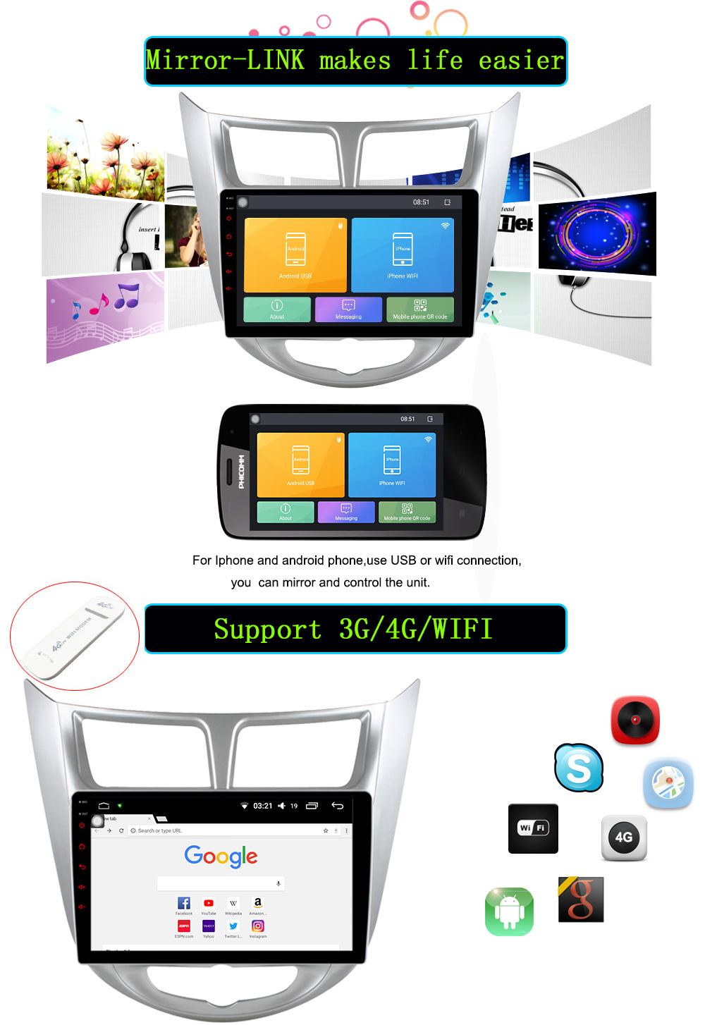 1024600 Android 7.1 Car DVD GPS Player For Solaris Verna Accent Car PC Headunit Car Radio Video Player Navigation