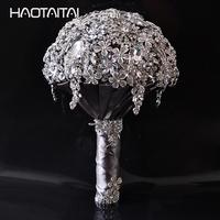 Кристалл свадебный брошь букет Свадебный de mariage букеты кристалл жемчуг Цветы бисер 2018 невесты искусственный цветок