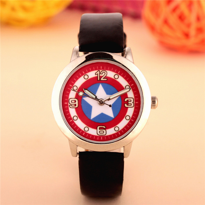 100pcs/lot wholesales hot sales fashion 3D cartoon Captain America students boys children gifts watch quartz leather wristwatch 5