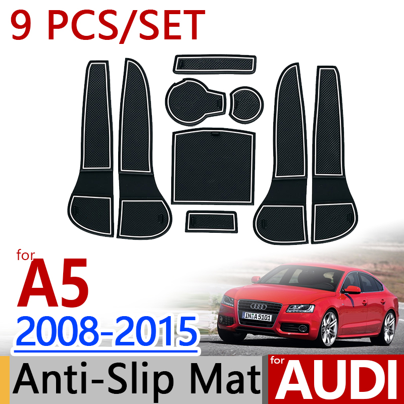 for <font><b>AUDI</b></font> <font><b>A5</b></font> 2008-2015 <font><b>B8</b></font> Anti-Slip Rubber Cup Cushion Door Mat 9pcs <font><b>Sportback</b></font> Coupe RS5 S5 2012 Accessories Car Styling Sticker image