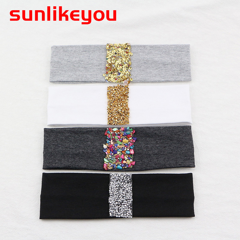 Sunlikeyou Kids Colorful Stones Baby Hair Accessories Cotton Elastic Newborn Headwear Boy Hair band Turban Baby Girl Headbands