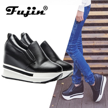 Fujin Brand 2018 Leather Casual Fashion Spring Summer Autumn Wedge Shoes For Women Creepers Female Platform Slip on Sneakers