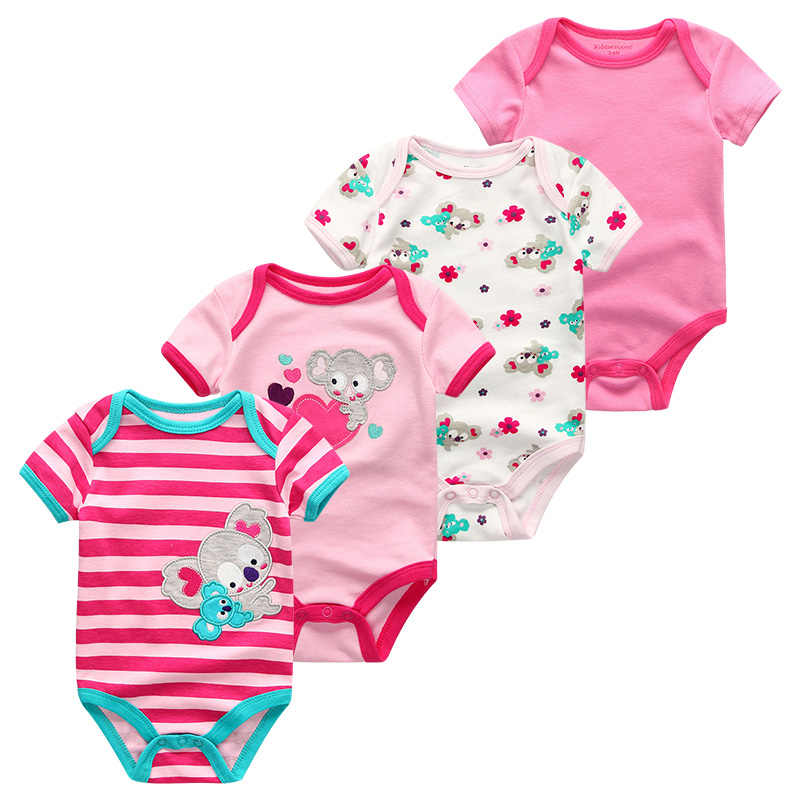 Baby Bodysuits Girls Summer Clothes Short Sleeves Cute Infant Boys Roupas de boby bebe 4Pcs/lot O-Neck Newborn Baby Clothing