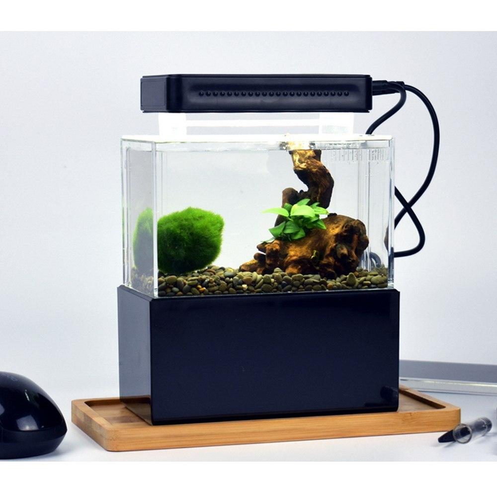 Mini Tanque De Peixes De Mesa Aquaponic cilindro micro Tranquila Bomba De Ar Do Aquário com luz LED com filtragem de Água home office Decor