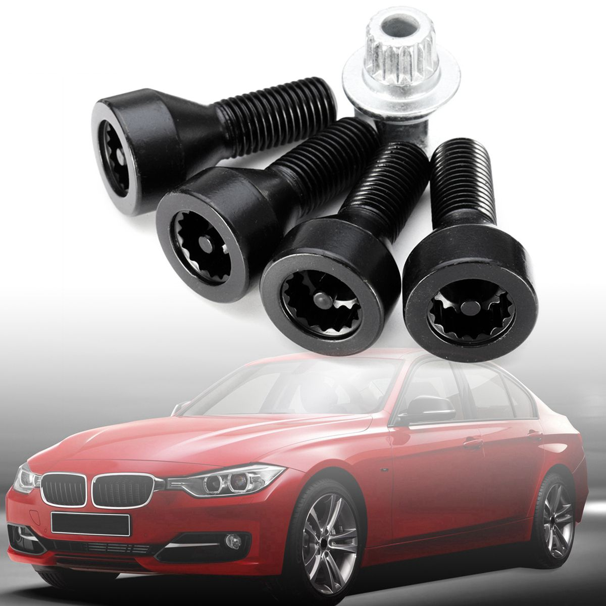 Wheel Lock Set Black Lug Bolts For BMW 128i 135i 318i 323i 325i 328i 330i 335i 525i 528i 530i 535i 540i 545i 550i 650i 735i 740i for bmw e36 318i 323i 325i 328i m3 carbon fiber headlight eyebrows eyelids 1992 1998